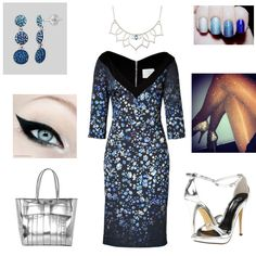 Great sparkling blues & silvers in this stunning outfit for the Metal Mania fashion mission