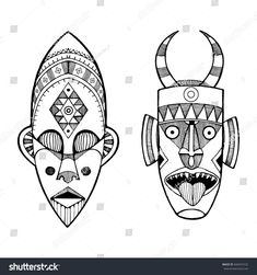 Illustration of African masks of savages engraving style. vector art, clipart and stock vectors. African Drawings, African Art Paintings, African Tribal Tattoos, Cross Coloring Page, Mask Drawing, Adinkra Symbols, Tiki Art, Illustration, Masks Art