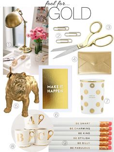 Monochromatic Monday: Fool for Gold Gold Office, Cute Office, Small Office, Cubical Ideas, Office Ideas, Gold Desk Accessories, Office Makeover, Home Office Decor, My New Room