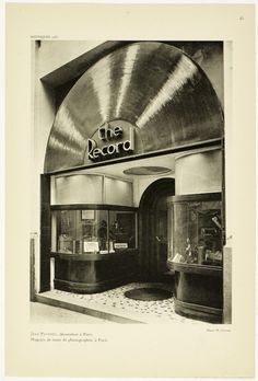 "furtho: ""Art deco record shop, Paris (via here) "" Vinyl Record Shop, Vinyl Store, Vinyl Records, Record Record, Record Players, Art Deco Paris, Paris Art, Art Nouveau, Dug Up"