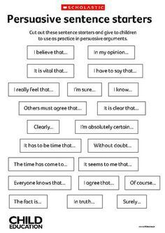 Persuasive Sentence Starting words