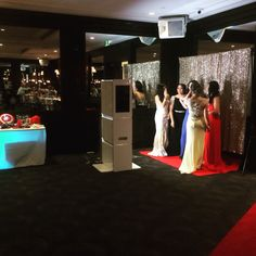 The Open Booth from PictureTHAT. #PictureTHATAustralia #PhotoboothHireSydney #Photobooth #Sydney #OpenAirBooth #RedCarpet #GoldBackdrop #PropsTable #SchoolFormal #Wedding #Engagement