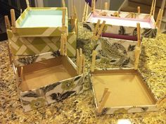 make nesting boxes out of excess fabric via diff. sized shoeboxes.