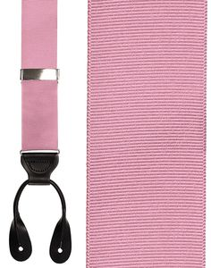 Pink Grosgraine Ribbon Suspenders (Button Ends)