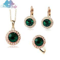 18K Gold Plated Rhinestone Vintage Moon River Crystal Bridal Sets women MLK58082  #rings #earrings #bridal #jewelry #weddingbands