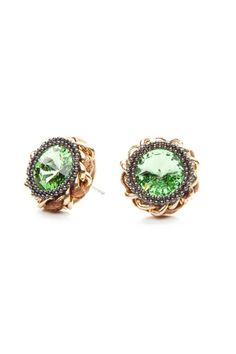 Glamorous in green. These earrings have a chain wrapped detailing, along with chrome colored studs that frame a green crystal accent.    Dimensions 1.5 x 0.5 x 1.5 cm   Stud Jade Earrings  by NAMES Accessories. Accessories - Jewelry - Earrings Canada