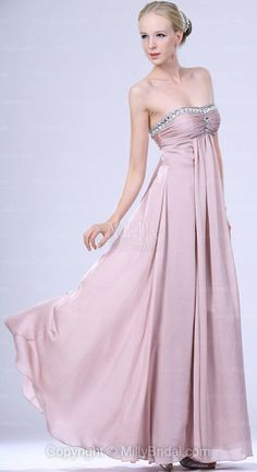 A-line Floor-length Chiffon Strapless Pearl Pink Pleating Sleeveless Formal Dress
