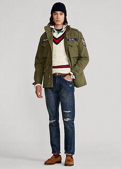 Herringbone Field Jacket Winter Fashion Casual, Casual Winter, Winter Style, Herringbone, Military Jacket, Overalls, Polo Ralph Lauren, Bomber Jacket, Mens Fashion