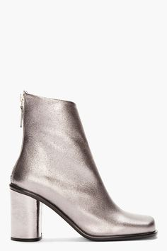 Marc Jacobs Metallic Silver Square Toe Zippered Boots