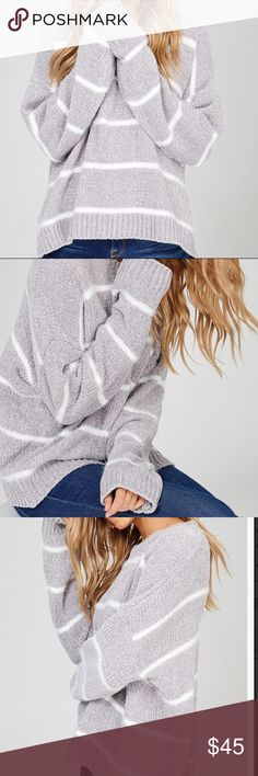 """TIFFANY Chenille Grey Stripped Sweater Cute grey with white stripped sweater. Super soft chenille style. Feels like velvet! White knit is a little fluffy to add a winters touch. Model is wearing Small.  Length is 24.5"""" from hps to bottom hemline on the small. 100% polyester WonderlustApparel Sweaters Crew & Scoop Necks"""