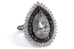 Do you want to feel like a snowy princess in a snowy fairy tale, wearing a magical snow-flake-like jewel? Then consider this 18k white gold statement ring by VIVAAN with a pear-shape icy diamond at the center, set in a double frame of black and white diamonds, with some more diamonds on the band. www.diamonds.pro