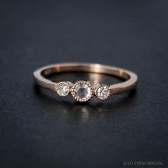 VALENTINE SALE Rose Gold Diamond Ring - Rose Cut Diamond - Non-Traditional Engagement Rings