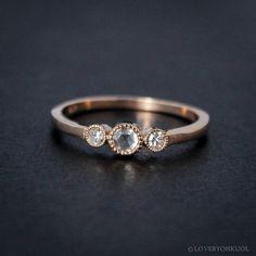 Rose Gold Diamond Ring, Rose Cut Diamond, Conflict Free Diamonds, Minimalist Rings by lovebyohkuol on Etsy