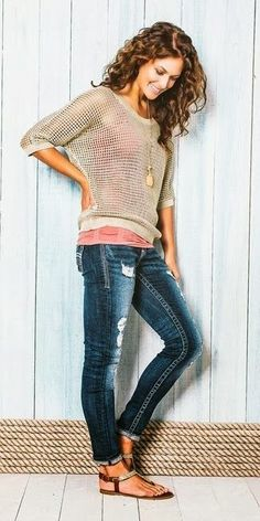 Cute Casual Outfits Jeans And Lace Top. Love, but maybe not holey jeans