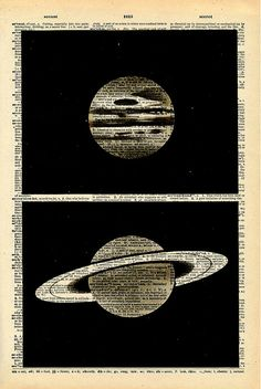 "Vintage Dictionary Print ""Planets"""