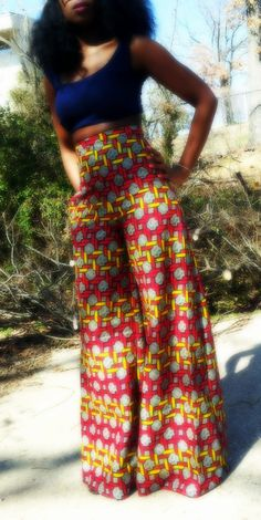 Wide leg African print pants by ngozi on Etsy African Inspired Fashion, African Print Fashion, Fashion Prints, African Attire, African Wear, African Dress, African Style, Fashion Mode, I Love Fashion