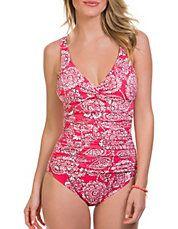 Lady Lace Twist Bodice Swimsuit