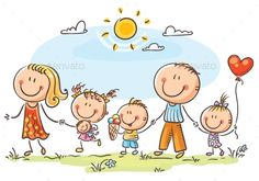 Buy Happy Family with Three Children Walking Outdoors by katya_dav on GraphicRiver. Happy family with three children walking outdoors and holding hands Art Drawings For Kids, Drawing For Kids, Cartoon Drawings, Cute Drawings, Art For Kids, Cute Family, Happy Family, Family Clipart, Happy Birthday Flower