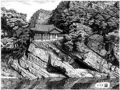 [김영택의 펜화기행] 청송 방호정 -Kim,youngtaek Pen Sketch, Korean Art, Llamas, Plane, Scenery, Asian, Architecture, Drawings, Illustration
