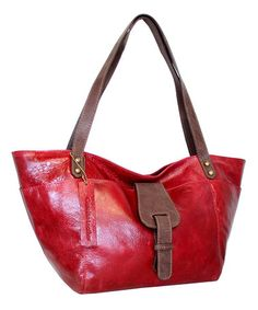 Another great find on #zulily! Red Tijuana Leather Tote by Nino Bossi Handbags #zulilyfinds