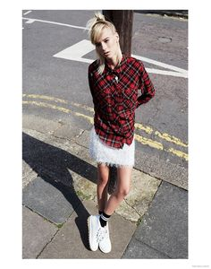 Tartan Shirt Filles a Papa, Fluffy Skirt Monki, Socks Topshop, Shoes Kickers