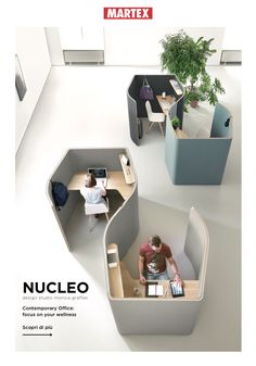 NUCLEO - Designer Office Pods from Martex ✓ all information ✓ high-resolution images ✓ CADs ✓ catalogues ✓ contact information ✓ find your. Office Cubicle Design, Office Space Design, Modern Office Design, Office Furniture Design, Workspace Design, Office Workspace, Office Interior Design, Office Interiors, Office Cubicles