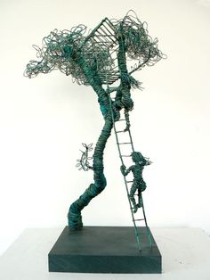 """Treehouse"" wire sculpture ~ by Annie Glass ~ Butler Goode Gallery"
