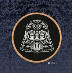 Cross stitch pattern Darth Vader Sugar Skull PDF Counted Scheme