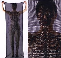 fabulous filet crochet skeleton scarf by Fabienne Gassmann