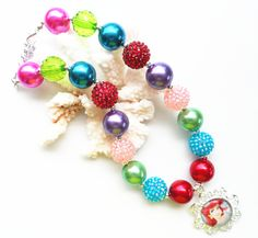 2pcs/lot colorful gumball beaded princess chunky necklace ,mermaid Ariel pendant kids jewelry necklace top selling !