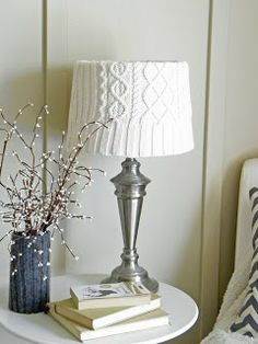 Modern Mountain Design: sweater lampshade! Perfect for winter!
