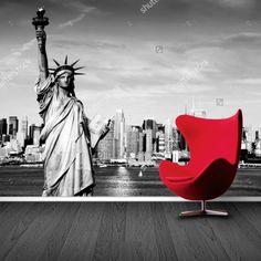 Fotobehang New York (zwartwit) | Maak het jezelf eenvoudig en bestel fotobehang voorzien van een lijmlaag bij YouPri om zo gemakkelijk jouw woonruimte een nieuwe stijl te geven. Voor het behangen heb je alleen water nodig! #behang #fotobehang #print #opdruk #afbeelding #diy #behangen #newyork #manhattan #vrijheidsbeeld #zwartwit #stad #wereldstad #amerika #usa #verenigdestaten