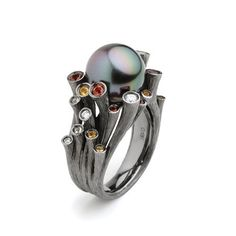 #Dawn collection #ring , inspired by coral , set with #tahitianpearls #diamond #sapphire in #blackgold , have won me 3 awards in 2006 @mr_feiliu @feiliufinejewellery @adornmentality @andreahansen92 @davidbroughjewels @dallasdesigns326 @alohapearls