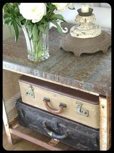 Love those old suitcases! From the Sweet Pea Home blog via The Old Painted Cottage Unique Goods and Curious Finds