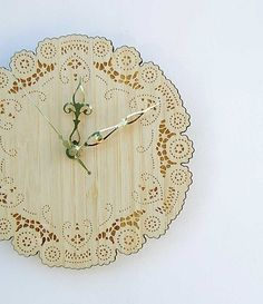 Items similar to rustic cottage chic bamboo doily clock with brass hands on Etsy