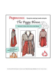 PDF: Paganoonoo Peggy Blouse Pattern with Double Collar Pattern. Transform dress shirts into woman's blouse! Paganoonoo