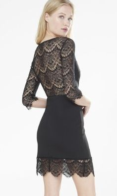 black lace and knit sheath dress from EXPRESS