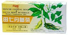 Tienchi Ginseng Root and Salvia Root Beverage (Tian Qi Dan Shen Cha) by Yunnan Traditional Herb. $4.95. Quickens the blood and transforms stasis.. Salvia root and Tienchi Ginseng granule for blood circulation. Tienchi Ginseng Root and Salvia Root Beverage (Less Sweet).  Packing: 1 box 10 packets, 0.35oz (10g) contents each packet.  Manufactured by Yunnan Traditional Herb, China.   Pseudoginseng and scarlet root have the property of promoting blood circulation and resolv...