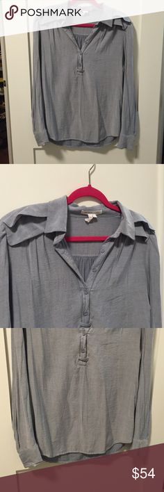 BCBGeneration- Chambray Collared Blouse Super soft chambray style collared blouse with v neck and 5 button closure. Decorative detailing along shoulders and back. Buttons on cuffs. Great condition! BCBGeneration Tops