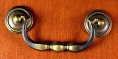 "Vintage Keeler Brass KBC Pull / Handle Bail & Washer ""Heavy"" Screw Holes 3 1/2""  #KeelerBrassCompany"