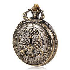 a5570b08679 Homens do Exército Padrão Bronze Alloy quartzo relógio de bolso