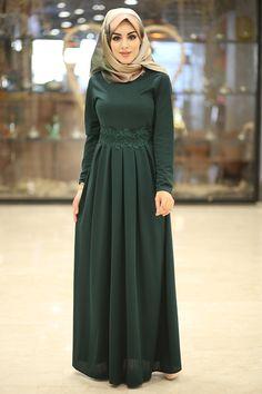 Dantel Güpür Detaylı Elbise 4092-8