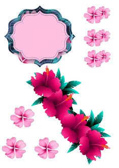 Project 4, Luau, Cake Toppers, Tropical, Stitch, Party, Flowers, Moana, Tags