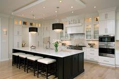 Black Kitchen Island, Black Kitchen Faucets, Black Kitchen Cabinets, Kitchen Cabinet Design, Black Kitchens, Home Kitchens, White Cabinets, Glass Cabinets, Kitchen Backsplash