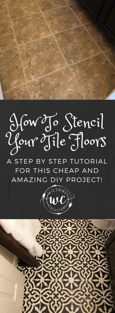 how to stencil tile floors. a step by step tutorial Sponsored Sponsored how to stencil tile floors. a step by step tutorial Painting Tile Floors, Painted Floors, Diy Flooring, Kitchen Flooring, Flooring Ideas, Stenciled Tile Floor, Cheap Home Decor, Diy Home Decor, Dyi