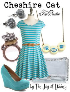 Outfit inspired by the Cheshire Cat from the Tim Burton version of Alice in Wonderland! The transparent purse symbolizes his evaporating ski...