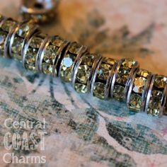 8 mm Aged Silver Champagne Jonquil Yellow Czech Crystal Rhinestone Rondelle Spacers 20 pcs - Straight Edge - Channel Set - Shabby Style