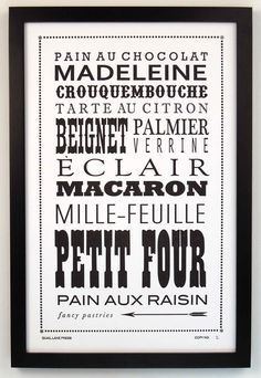 Fancy Pastries Letterpress Printed Broadside by quaillanepress, $25.00