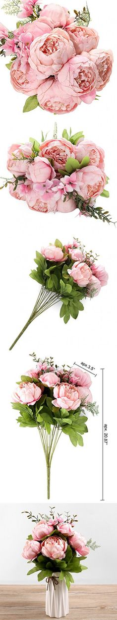 Fake Artificial Flowers Vintage Silk Peony Flowers Bouquet for Home Wedding Centerpieces Décor and DIY,Peach Pink