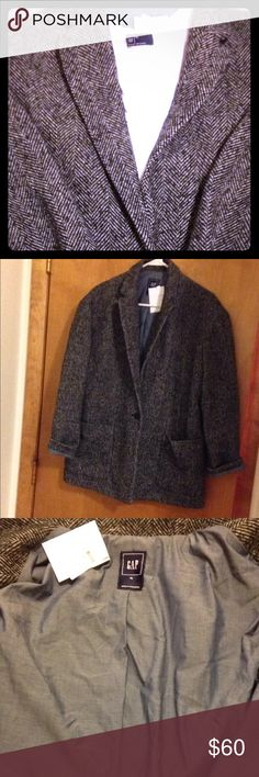 GAP One Button Wool Blazer GAP One Button Wool Blazer. Gray and black herringbone type pattern. Close up picture shows pattern. Size XL. Wool with polyester lining. Perfect for winter! New with tags. Bundle and save! GAP Jackets & Coats Blazers